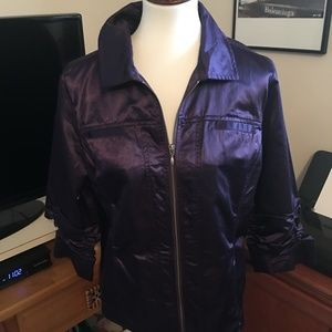 Chico's Shiny Purple Ruched-Sleeved Jacket